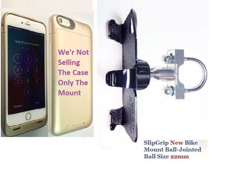 SlipGrip U-Bolt Bike Holder For Apple iPhone 6 Plus Using Mophie Juice Pack Case