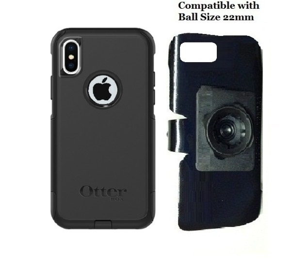 SlipGrip 22mm Ball Holder For Apple iPhone X Using Otterbox Commuter Case