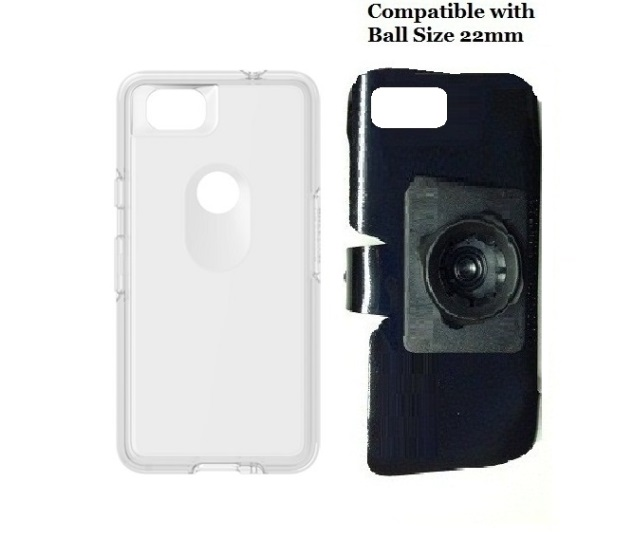 SlipGrip 22mm Ball Holder For Google Pixel 2 Phone Using OtterBox Symmetry Clear Case