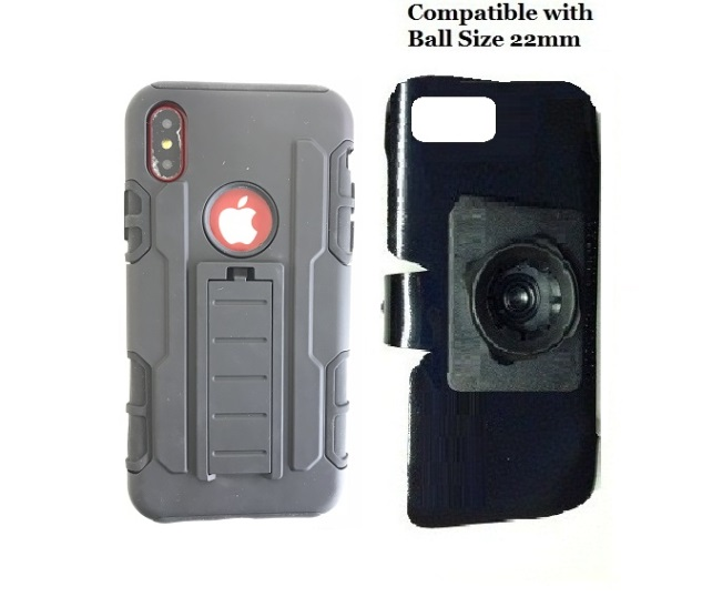 SlipGrip 22mm Ball Holder For Apple iPhone X Using  Defense Shield HD KS Case