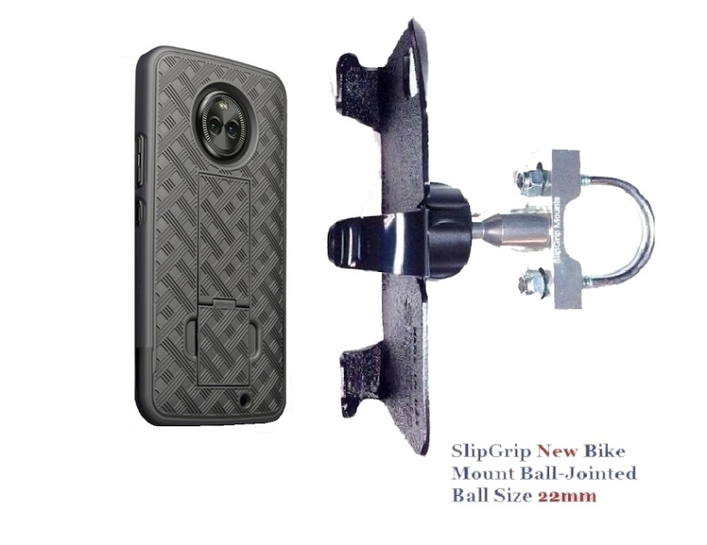 SlipGrip U-Bolt Bike Holder For Motorola Moto X4 Phone Using  Shell Kickstand Case