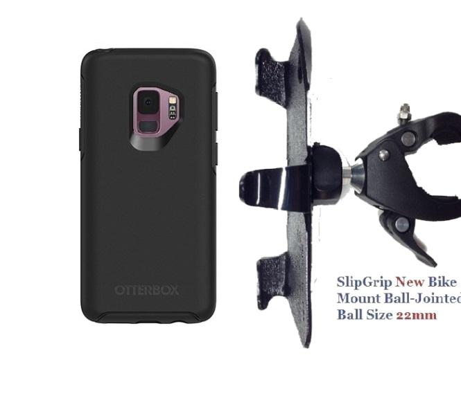 SlipGrip 1.5 Bike Holder For Samsung Galaxy S9 Using Otterbox Symmetry Case
