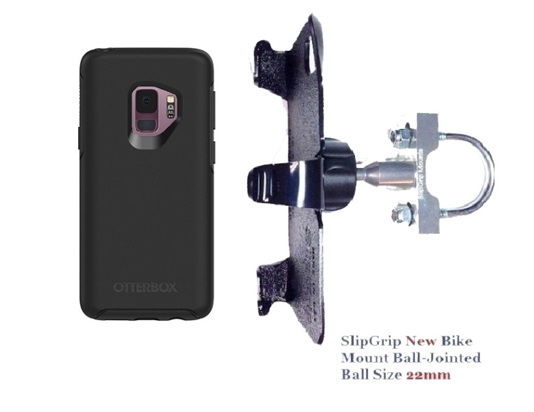 SlipGrip U-Bolt Bike Holder For Samsung Galaxy S9 Using Otterbox Symmetry Case