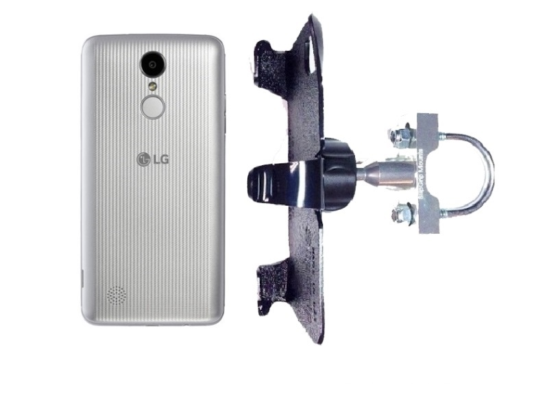 SlipGrip U-Bolt Bike Holder For LG Aristo Phone Naked Using No Case On