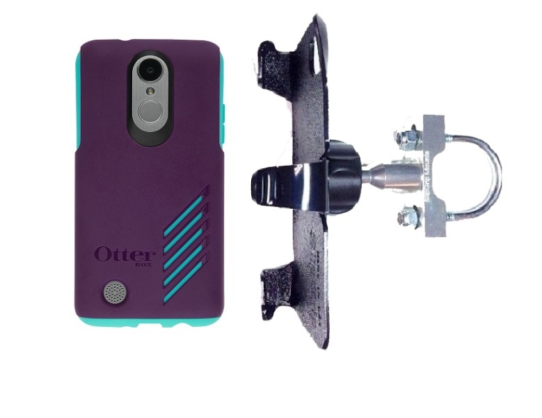 SlipGrip U-Bolt Bike Holder For LG Aristo Phone Using Otterbox Achiever Case