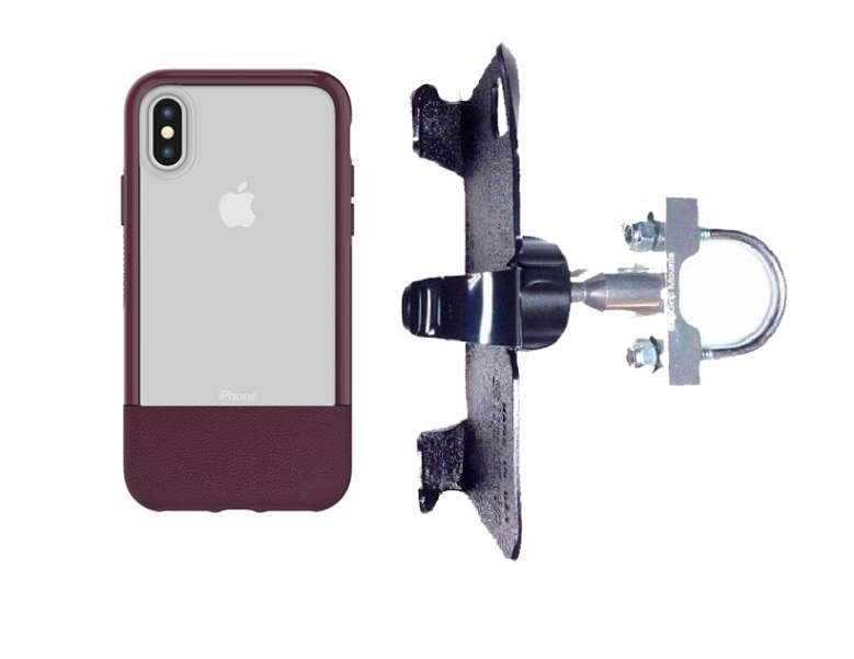 SlipGrip U-Bolt Bike Holder For Apple iPhone X Using Otterbox Statement Case