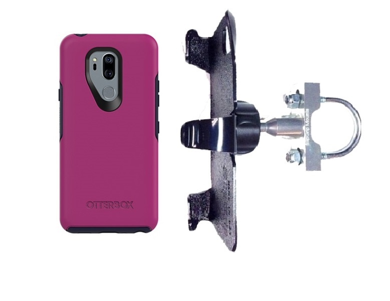 SlipGrip U-Bolt Bike Holder For LG G7 Thin Q Using Otterbox Symmetry Case