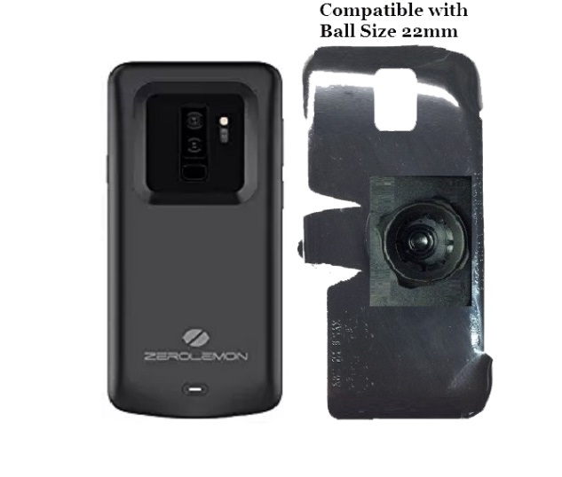 SlipGrip 22mm Ball Holder For Samsung Galaxy S9 Plus Using Zerolemon 5200mAh Case