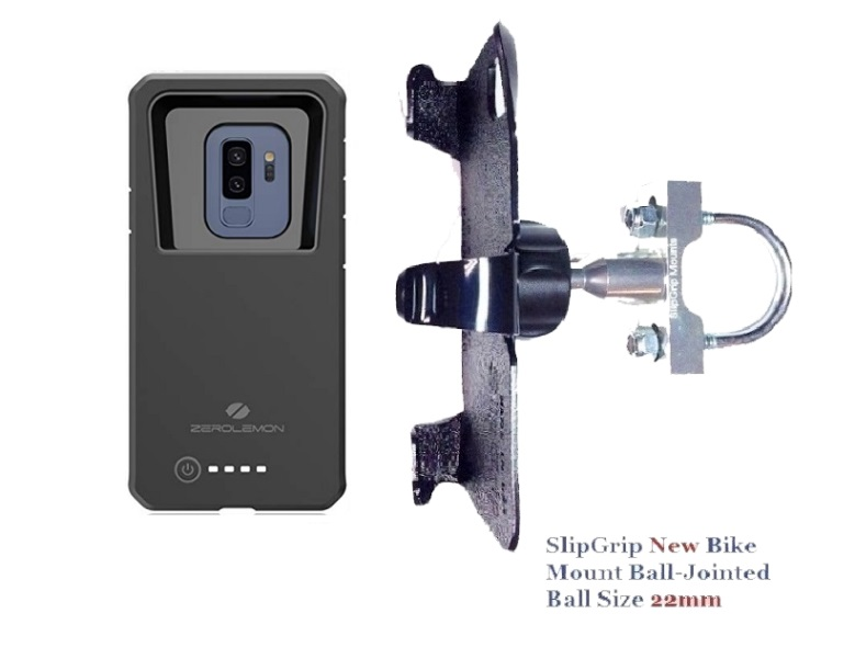 SlipGrip U-Bolt Bike Holder For Samsung Galaxy S9 Plus Using Zerolemon 8000mAh Case