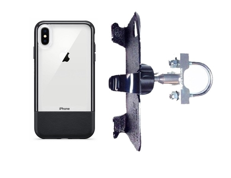 SlipGrip U-Bolt Bike Holder For Apple iPhone XS Max Using Otterbox Statement Case