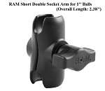RAM Short Double Socket Arm for 1