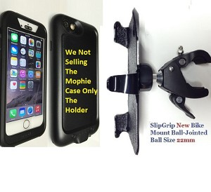 "SlipGrip 1.5"" Bike Holder For Apple iPhone 6 Using Mophie Juice Pack H2PRO WaterProof Case"