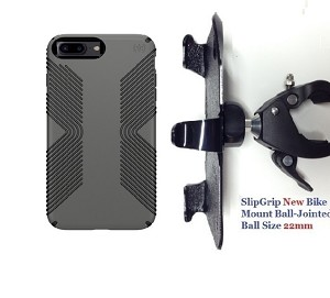 "SlipGrip 1.5"" Bike Holder For Apple iPhone 8 Plus Using Speck Presidio Grip Case"
