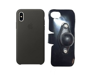 SlipGrip RAM Holder For Apple iPhone X Using Apple Leather Case