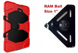 "SlipGrip RAM 1"" Ball Compatible Mount Designed For Samsung Galaxy Tab E8.0 Tablet  Hybrid Armor Rugged Case"