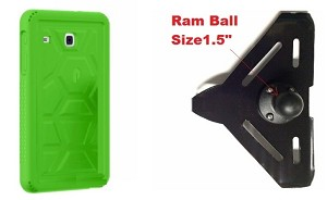 "SlipGrip RAM 1.5"" Ball Compatible Mount Designed For Samsung Galaxy Tab E8.0 Tablet Poetic Turtle Skin Shockproof Case"