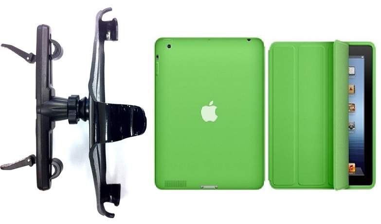 SlipGrip Headrest Mount For Apple iPad 2 & 3 & 4 Generation Tablet Using Genuine Apple Smart Case