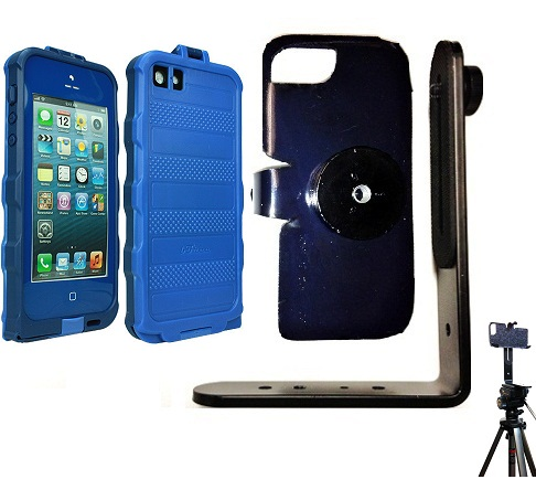 SlipGrip Tripod Mount For Apple iPhone 5 5S Using bFree Aqua Waterproof Proof Case