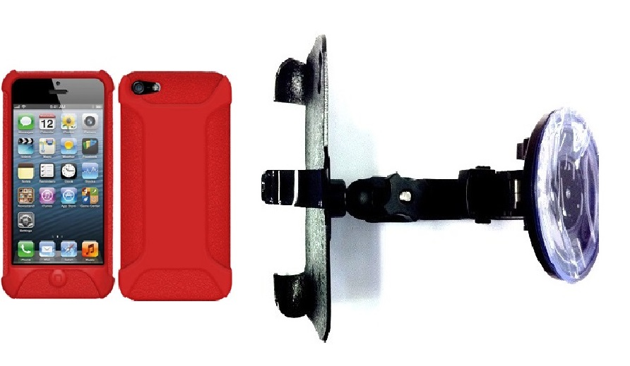 SlipGrip Car Holder For Apple iPhone 5 & 5S Using Amzer SilicOne Jelly Skin Case HV