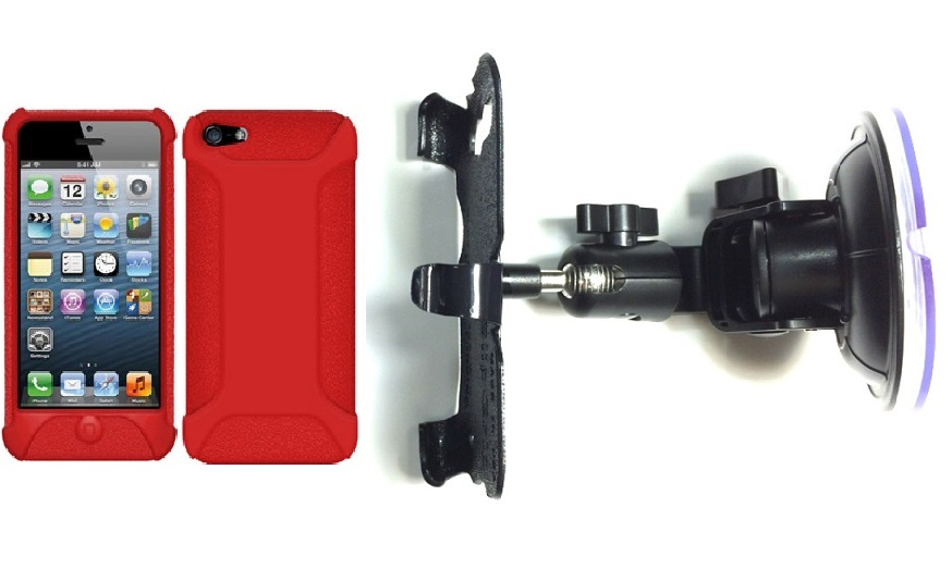 SlipGrip Car Holder For Apple iPhone 5 & 5S Using Amzer Silicone Jelly Skin Case DT