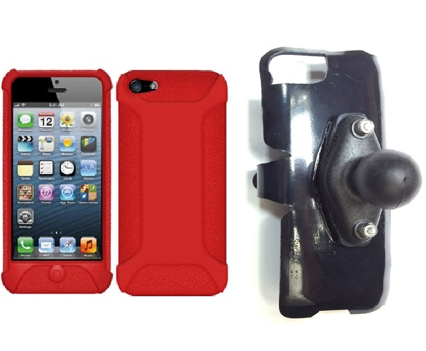 SlipGrip RAM Holder For Apple iPhone 5 & 5S Using Amzer Silicone Jelly Skin Case