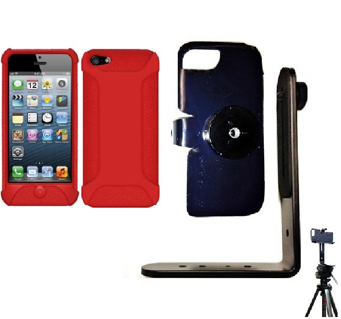 SlipGrip Tripod Mount For Apple iPhone 5 & 5S Using Amzer Silicone Jelly Skin Case