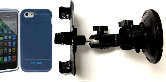SlipGrip Car Holder For Apple iPhone 5 & 5S Using Pelican ProGear Protector Case DT
