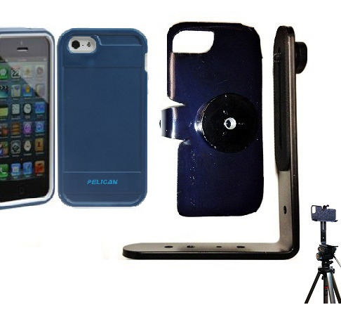 SlipGrip Tripod Mount For Apple iPhone 5 & 5S Using Pelican ProGear Protector Case