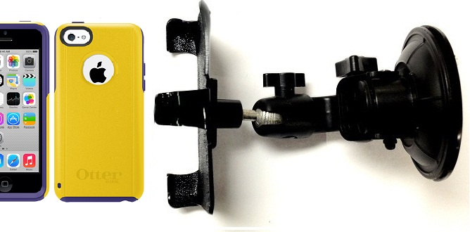 SlipGrip Car Holder For Apple iPhone 5C Using Otterbox Commuter Case DT