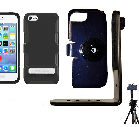 SlipGrip Tripod Mount For Apple iPhone 5C Using Seidio Active Metal KickStand Case