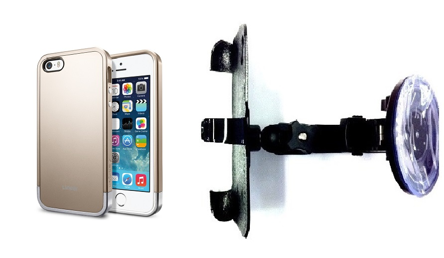 SlipGrip Car Holder For Apple iPhone 5 & 5S Using Spigen Linear Metal Case HV