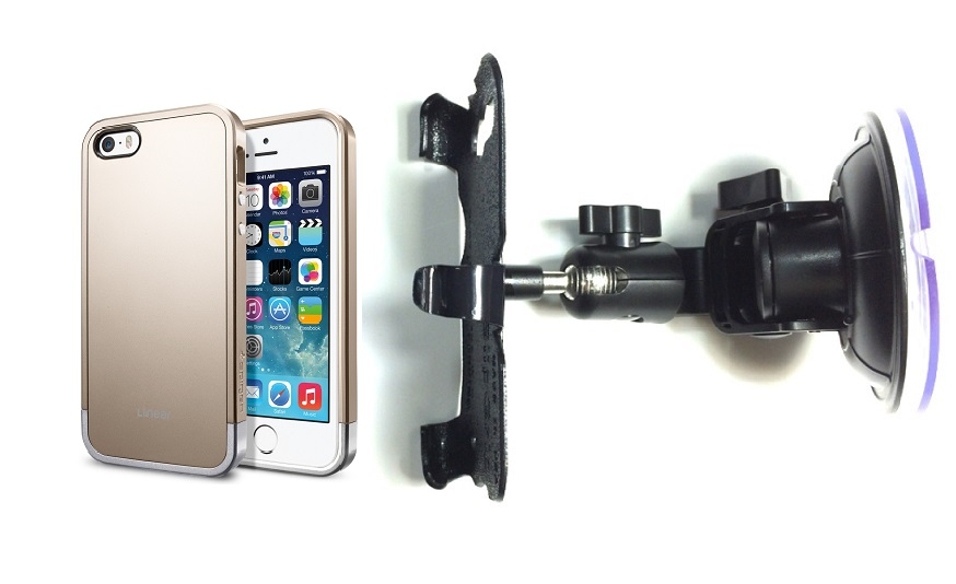 SlipGrip Car Holder For Apple iPhone 5 & 5S Using SPIGEN Linear Metal Case DT