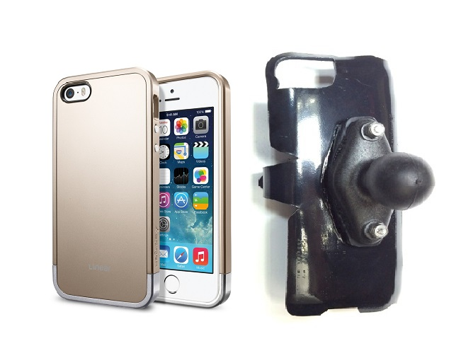 SlipGrip RAM Holder For Apple iPhone 5 & 5S Using SPIGEN Linear Metal Case