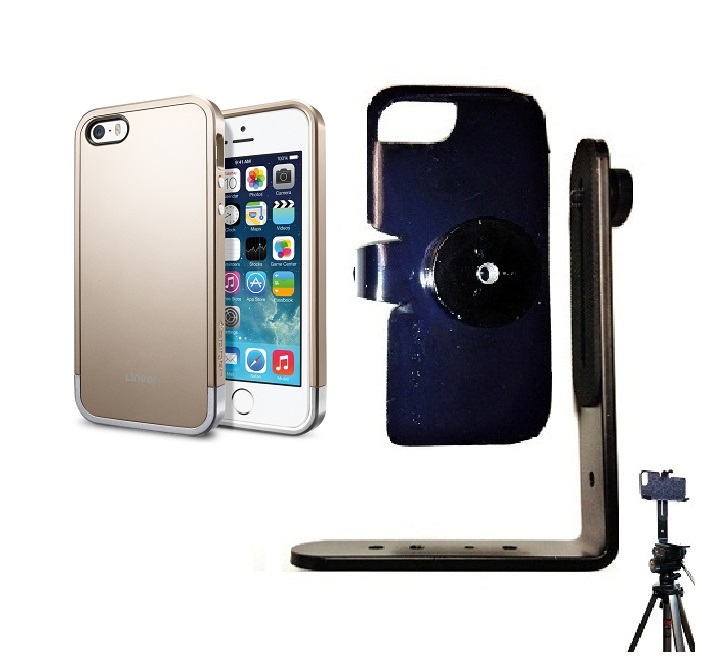 SlipGrip Tripod Mount For Apple iPhone 5 & 5S Using SPIGEN Linear Metal Case