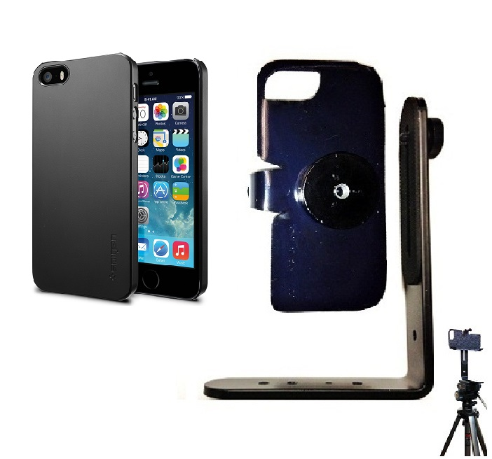 SlipGrip Tripod Mount For Apple iPhone 5 & 5S Using SPIGEN Ultra Thin Air Case