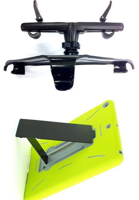 SlipGrip Headrest Mount For Apple iPad Air Tablet Using Dual Layer KickStand Stand Case