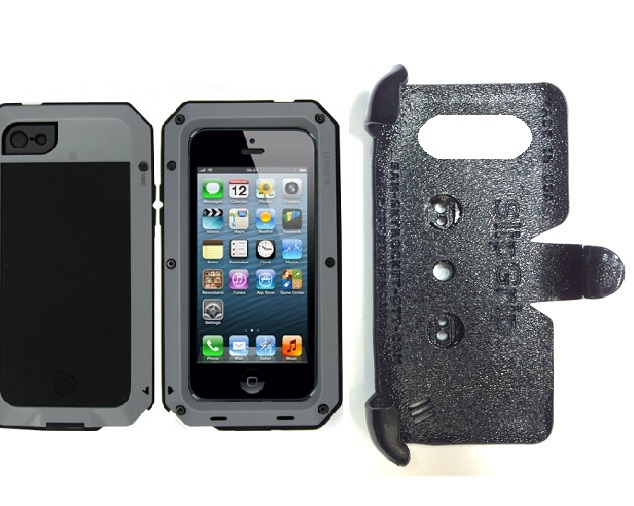 SlipGrip PRO Mounts Holder For Apple iPhone 5 & 5S Using Aluminum Lunatik Taktik Strike Case