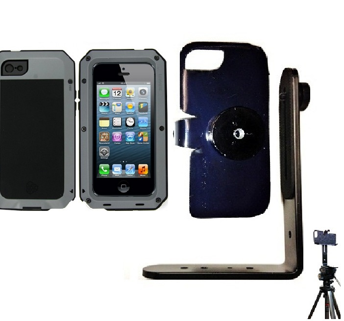 SlipGrip Tripod Mount For Apple iPhone 5 & 5S Using Aluminum Lunatik Taktik Strike Case