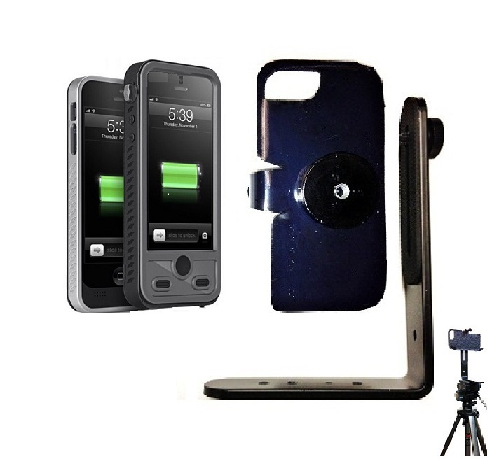 SlipGrip Tripod Mount For Apple iPhone 5 & 5S Using ibattz Mojo Refuel Aqua Battery Case