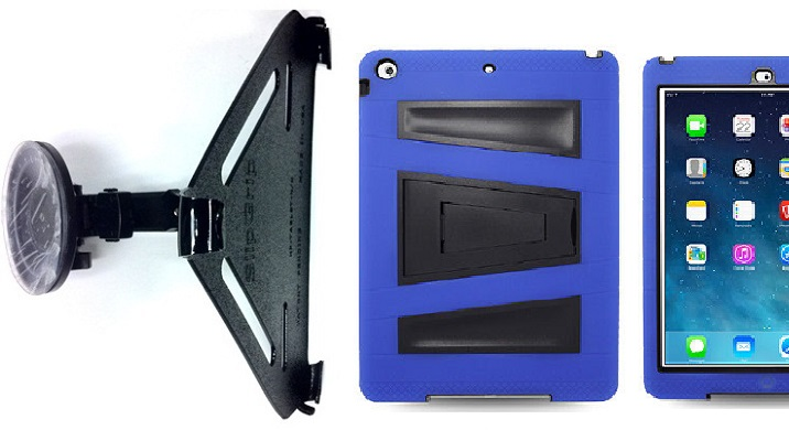 SlipGrip CAR Holder For Apple iPad Air Tablet Using Rugged Armor V-Style Kickstand Case