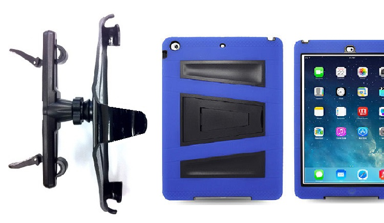 SlipGrip Headrest Mount For Apple iPad Air Tablet Using Rugged Armor V-Style Kickstand Case