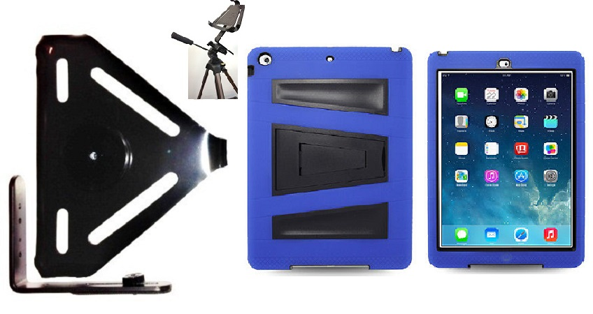 SlipGrip Tripod Mount For Apple iPad Air Tablet Using Rugged Armor V-Style Kickstand Case