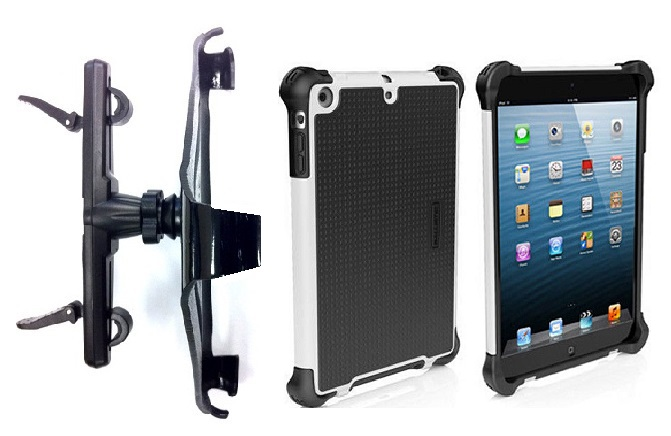 SlipGrip Headrest Mount For Apple iPad Air Tablet Using Ballistic Tough Jacket HC Rugged Hard Case