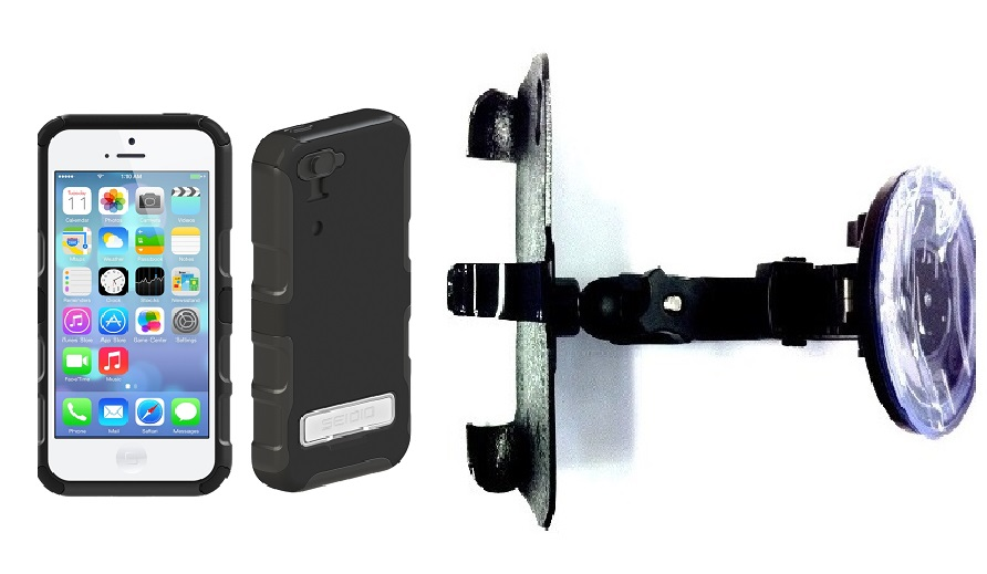 SlipGrip Car Holder For Apple iPhone 5C Using Seidio CONVERT Metal KickStand Case HV