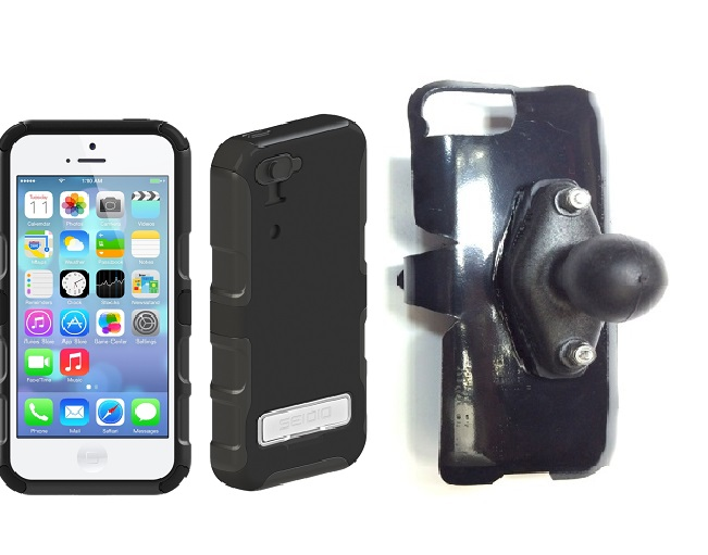 SlipGrip RAM Holder For Apple iPhone 5C Using Seidio CONVERT Metal KickStand Case