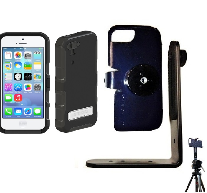 SlipGrip Tripod Mount For Apple iPhone 5C Using Seidio CONVERT Metal KickStand Case