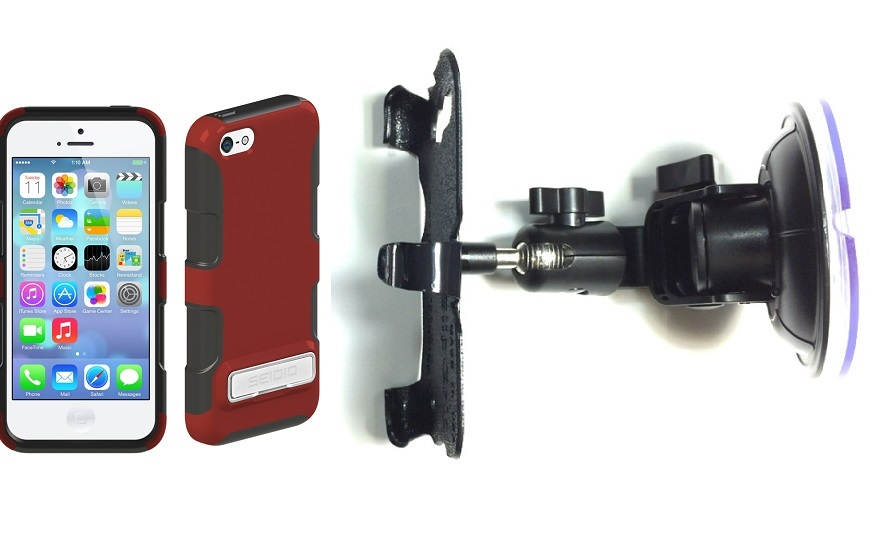 SlipGrip Car Holder For Apple iPhone 5C Using Seidio DILEX Metal KickStand Case DT