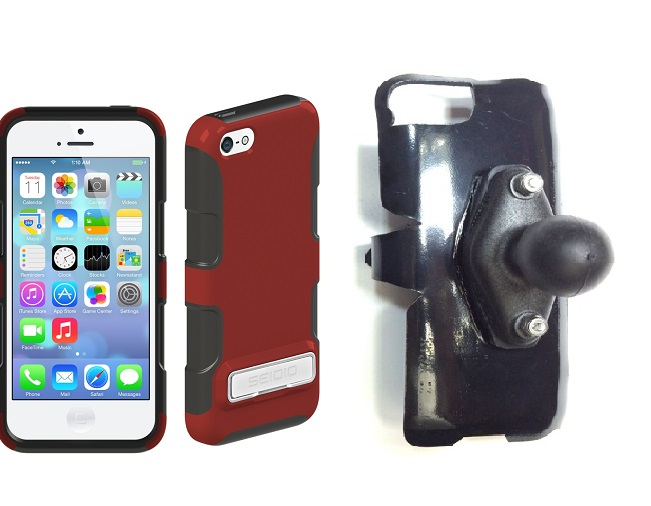 SlipGrip RAM Holder For Apple iPhone 5C Using Seidio DILEX Metal KickStand Case