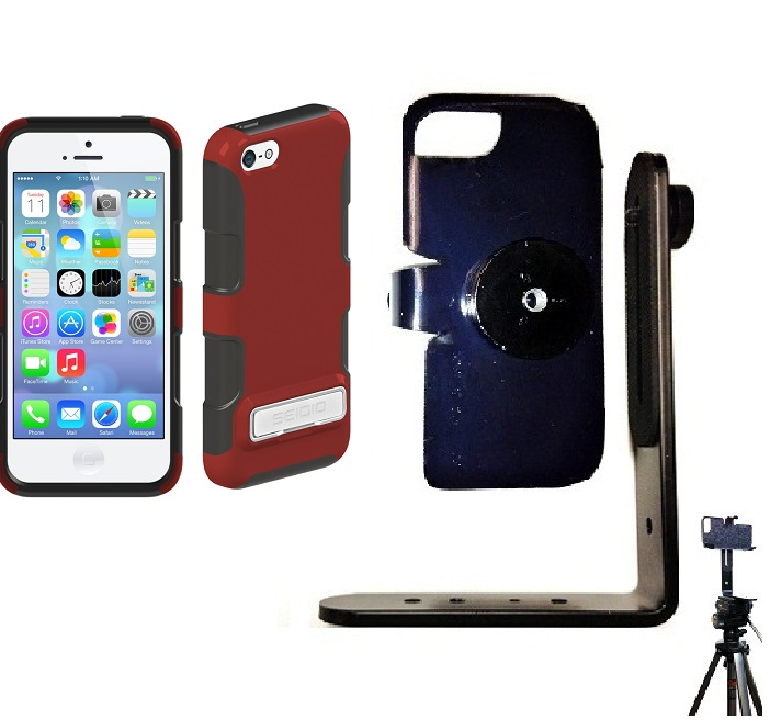 SlipGrip Tripod Mount For Apple iPhone 5C Using Seidio DILEX Metal KickStand Case