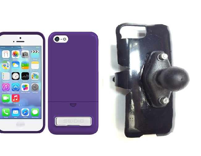 SlipGrip RAM Holder For Apple iPhone 5C Using Seidio SURFACE Metal KickStand Case